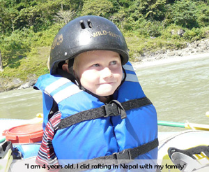 4 years old boy done Rafting in Nepal